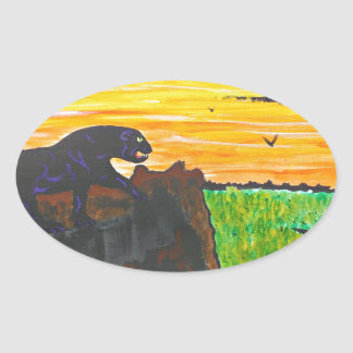 Adesivo Oval Pantera no prowl