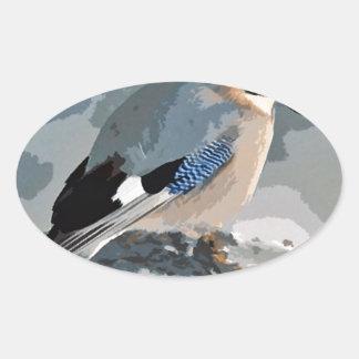Adesivo Oval Pássaro de Jay no inverno