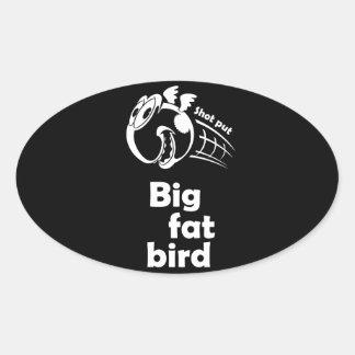 Adesivo Oval Pássaro psto tiro gordo grande