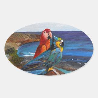 Adesivo Oval Pássaros tropicais que negligenciam a baía