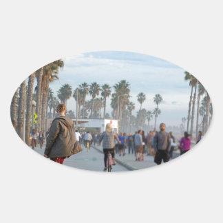 Adesivo Oval patinagem à praia de Veneza