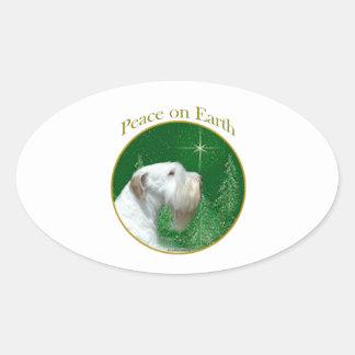 Adesivo Oval Paz de Sealyham Terrier na terra