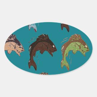 Adesivo Oval Peixes