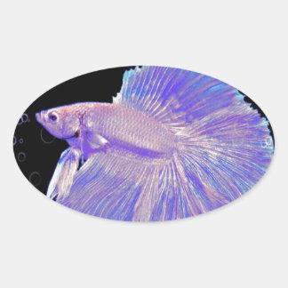 Adesivo Oval Peixes de combate roxos iridescentes