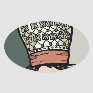 Adesivo Oval Pensamento asiático central da mulher (no chapéu)