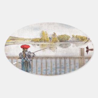 Adesivo Oval Pesca de Lisbeth por Carl Larsson