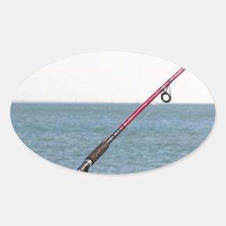 Adesivo Oval Pesca Rod no cais em San Francisco Bay