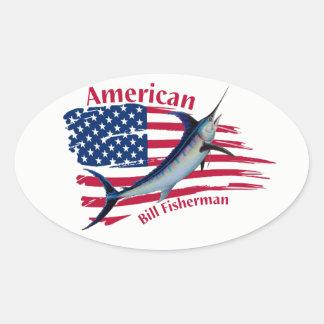 Adesivo Oval pescadores americanos da conta