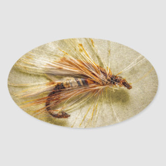 Adesivo Oval Pescando a mosca