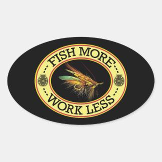 Adesivo Oval PESQUE a pesca com mosca mais salmon