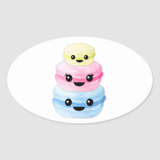 Adesivo Oval Pilha bonito de Kawaii Macaron
