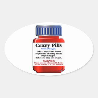 Adesivo Oval Pills_ louco