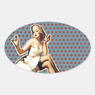 Adesivo Oval Pino bonito do vintage do teste padrão retro acima