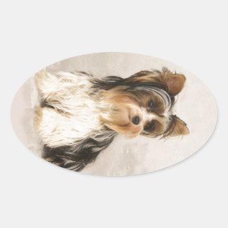 Adesivo Oval Pintura da senhorita Mia Foto de Yorkie do retrato