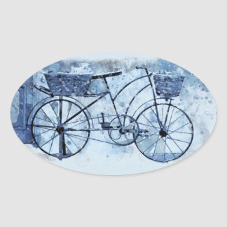 Adesivo Oval Pintura de cena azul da rua da bicicleta