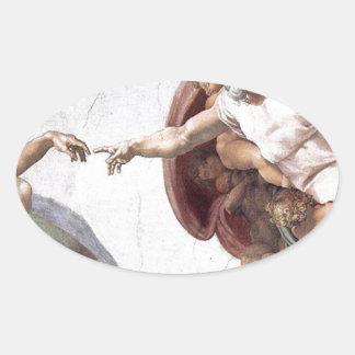 Adesivo Oval Pintura original de Michelangelo na capela Roma do
