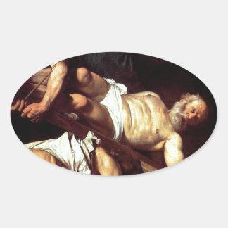 """Adesivo Oval Pintura original """"La crocifissione di s Pietro """""""