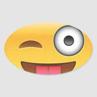Adesivo Oval Piscar os olhos insolente do emoji do smiley