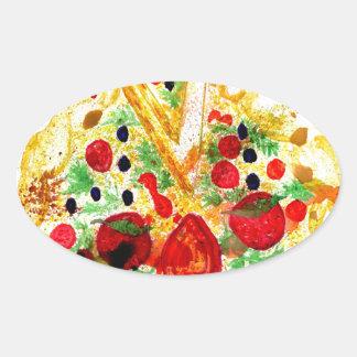Adesivo Oval Pizza saboroso
