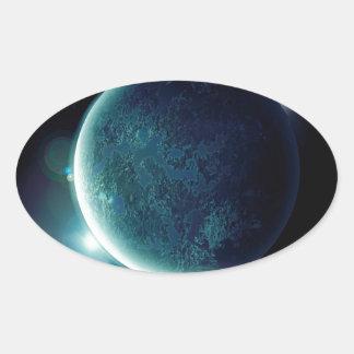Adesivo Oval planeta verde no universo com aura e estrelas