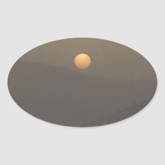 Adesivo Oval Por do sol sobre montanhas da ilha de Paros