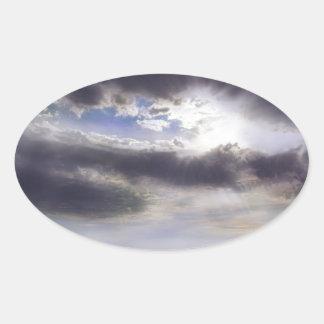 Adesivo Oval Por do sol sobre o lago