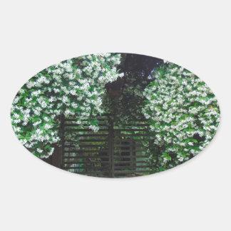Adesivo Oval Porta coberta no jasmim