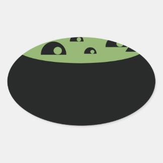 Adesivo Oval Pote preto e verde do cozinhar