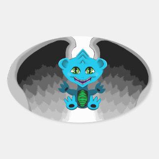Adesivo Oval Pouco dragão com asas