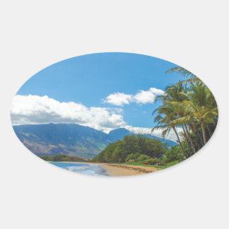 Adesivo Oval Praia em Havaí
