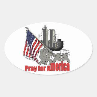 Adesivo Oval Pray para América