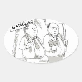 Adesivo Oval Pregador samoano gordo que protesta desenhos