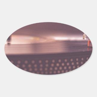 Adesivo Oval Preto do equipamento do vinil do registro da