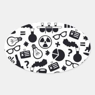 Adesivo Oval Preto do teste padrão da ciência no branco