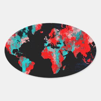 Adesivo Oval preto vermelho do mapa do mundo