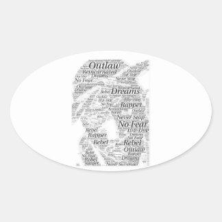 Adesivo Oval Produtos do esboço dos grafites da palavra do