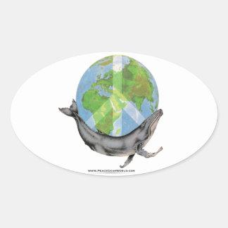 Adesivo Oval Projeto da paz da baleia de Humpback