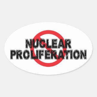 Adesivo Oval Proliferação nuclear da proibição