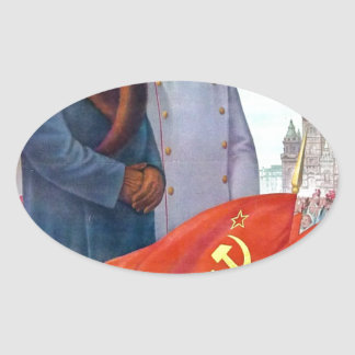 Adesivo Oval Propaganda original Mao Zedong e Josef Stalin