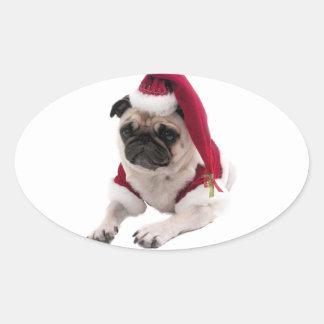 Adesivo Oval Pug do Natal - cão de Papai Noel - persiga claus