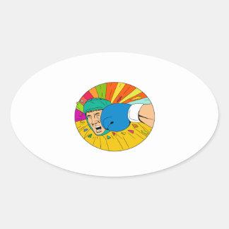 Adesivo Oval Pugilista amador batido pelo desenho oval do
