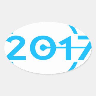 Adesivo Oval Pulso de disparo da data de 2017 azuis