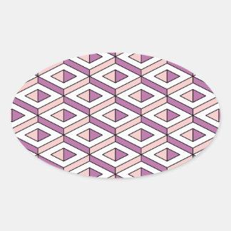Adesivo Oval quartzo cor-de-rosa da geometria 3d