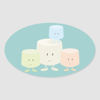 Adesivo Oval Quatro marshmallows que sorriem junto