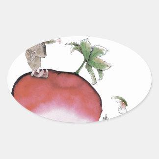 Adesivo Oval Rabanete grande de Yorkshire do amor