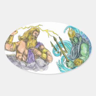 Adesivo Oval Raio de Zeus contra o tatuagem de Poseidon Trident