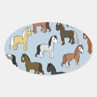Adesivo Oval Rebanho bonito dos cavalos