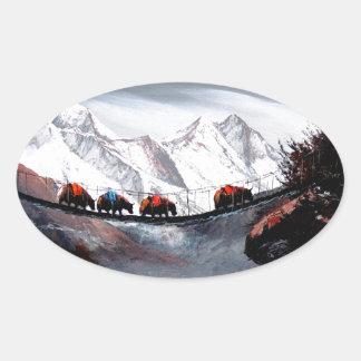 Adesivo Oval Rebanho de iaques Himalaya da montanha