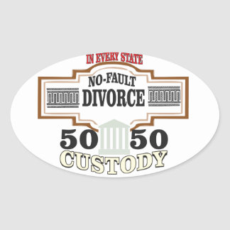 Adesivo Oval reduza a custódia 50 50 automática dos divórcios
