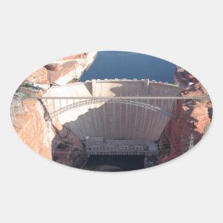 Adesivo Oval Represa da garganta do vale e ponte, arizona
